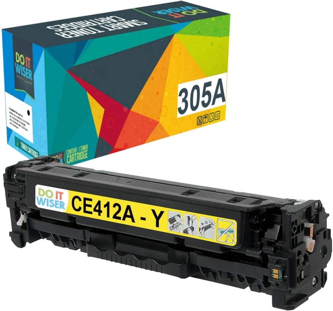 Do it Wiser Remanufactured Toner Cartridge Replacement for HP 305A 305X CE412A for use in HP Laserjet Pro M451nw,M451dn, M451dw, MFP M475dn, MFP M475dw, M375nw (Yellow)