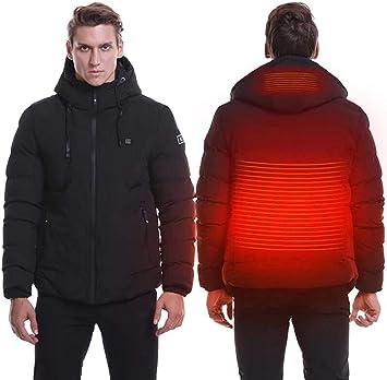 マンヒーティングジャケット、USBチャージウォッシャブルウォームコート、2エリアヒーティングと3温度調節可能なヒーテッドボディウォーマー、冬のアウトドアキャンプハイキングスキー用