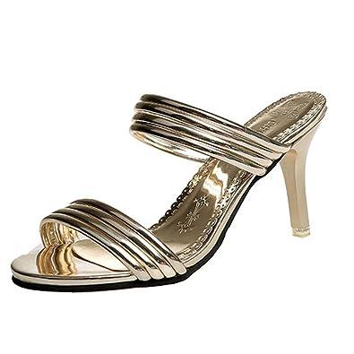 276d78616 GIY Women's Open Toe Mules Glitter Slingback Stiletto High Heels Slip on  Slide Sandals Gold