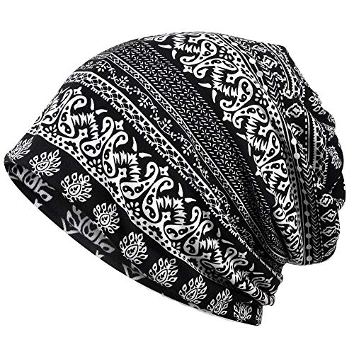 - Womens Slouchy Beanie Infinity Scarf Sleep Cap Hat for Hair Loss Cancer Chemo (Black and White Stripes xizhi)