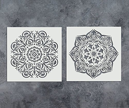 GSS Designs Pack of 2 Mandala Stencils Set (12x12 inch) Reusable Floral Painting Template for Wood Wall Furniture Floor Tiles Glass Fabric (SL-014) by G GSS Designs
