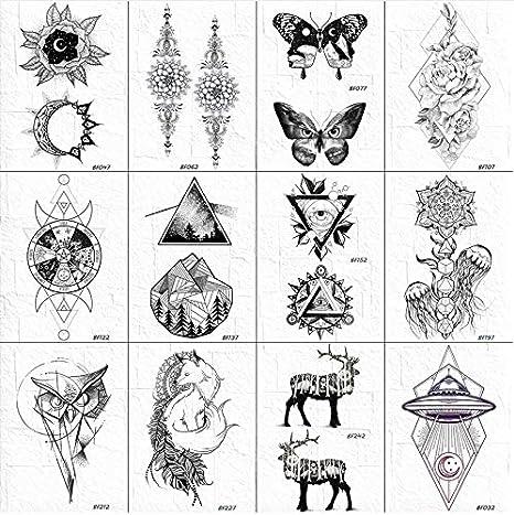 yyyDL Mujeres Negro Geometría Temporal Valle Tatuajes Cuerpo Brazo ...