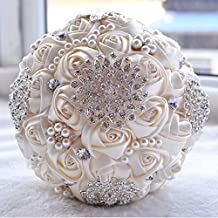 Abbie Home Advanced Customization Romantic Bride Wedding Holding Toss Bouquet Rose with Pearls and Rhinestone decorative brooches Accessories-Multi color selection (453W)
