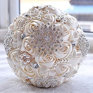 KUKI SHOP Wedding Bouquet Handmade Bridal Bridesmaid Bouquets Rhinestone Brooch Crystal Pearl Roses Flowers 112
