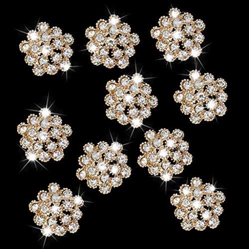 10pcs Rhinestone Plum Blossom Flower Button Embellishments 20mm