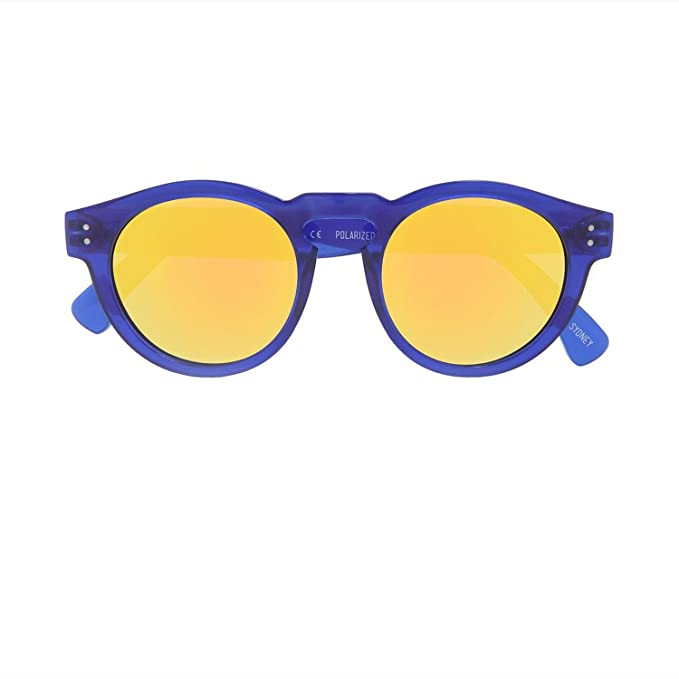 Local Supply Local Hana Unisex Blue Frame Oro lente gafas de sol redondas