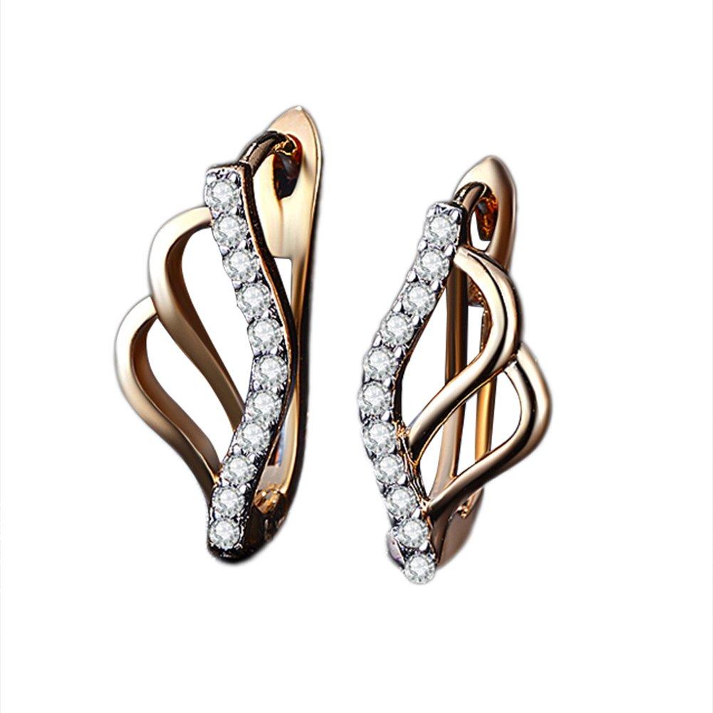 quanjucheer Women Girl Ripple Design Shiny Zircon Earrings Fashion Jewelry size 0.65cm x 0.3cm (Golden)