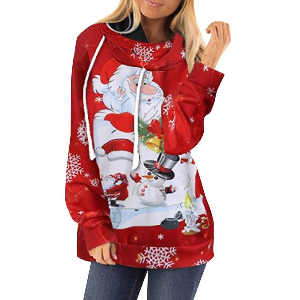 K-Youth 2019 Ofertas Sudadera Mujer Capucha Navidad Papá Noel Estampado Ropa de Mujer Invierno Abrigos Sudaderas Adolescentes Chicas Tumblr Jersey Navidad Mujer Largo Blusa Tops Otoño