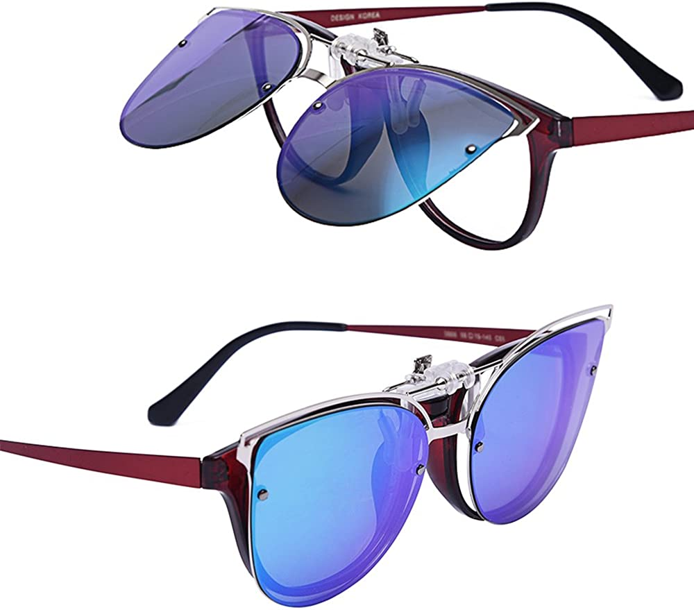 Exquisite Women/'s Clip-on Sunglasses Polarized Clip-on Flip up Cat Eye Sunglasses Driving Travel Outdoor Sport