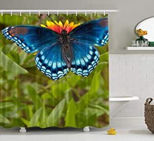 silichee Fabric Shower Curtain,Washable Shower Curtain Colorful Shower Curtain Red Spotted Purple Admiral Butterfly Feeding on Blanket Flower 78X72Inch Decor Curtains for Bathroom