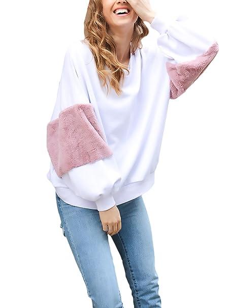 ... Capucha Deportivas Suelto Oversize Chica Jerseys Cuello Redondo Top Vintage Juveniles Bonitas Camisas Blusas Blanco Dama: Amazon.es: Ropa y accesorios
