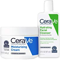 CeraVe Moisturizing Cream and Hydrating Face Wash Trial Combo | 12oz Cream + 3oz Travel Size Cleanser