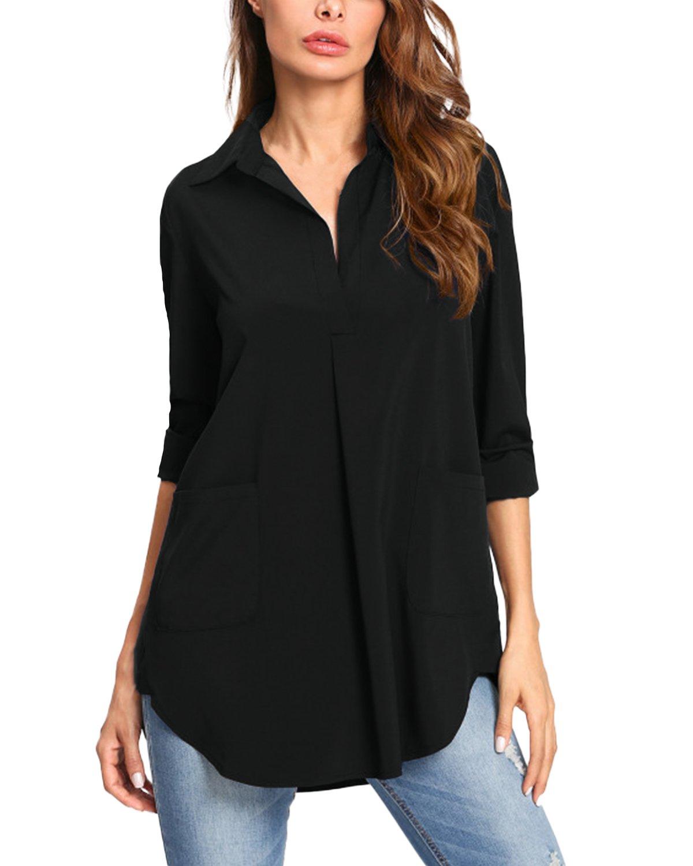 Kidsform Women Button Down Shirts Long Sleeve Vertical Solid Causal Work Shirt Blouse Tops Black 2XL