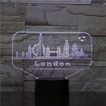 Nuit Lumière Led Londres Usb Ville Enfants 3d Lampe Décoration 7v6fgyYb