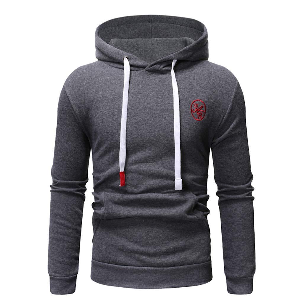 Mens Hoodies Pullover Graphic, Men's Long Sleeve Camouflage Hoodie Hooded Sweatshirt Top Tee Outwear Blouse (XL, Dark Gray 1) by baskuwish Men Blouse