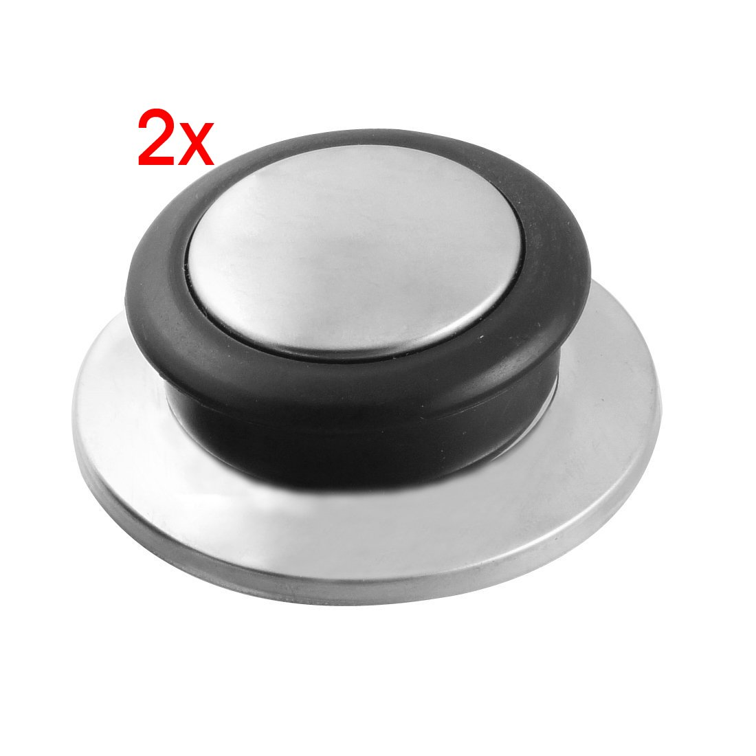 SODIAL(R) 2 Pcs Kitchenware Black Silver Tone Tempered Glass Pot Pan Lid Knob AEQW-WER-AW143051