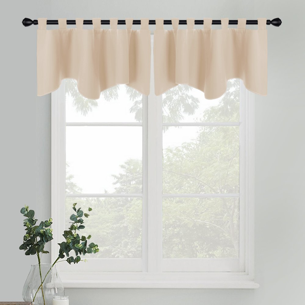 PONY DANCE Beige Window Valance - Kitchen Drape Thermal Insulated Tab Top Blackout Tier Curtains Home Decoration Swags and Valances for Bedroom, 52 by 18 inch, Beige, Sold as 2 Pieces
