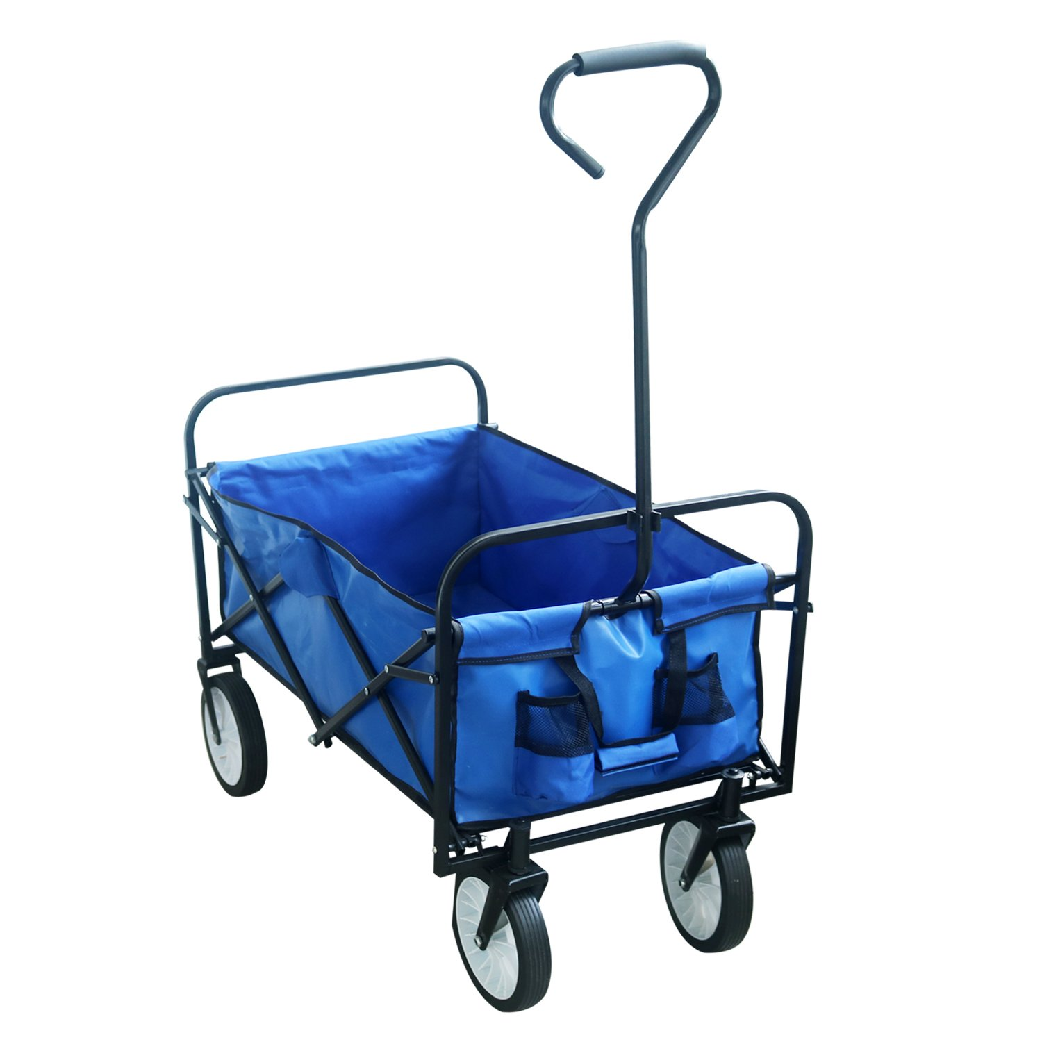 Best Sunshine Folding Wagon Cart Collapsible Utility Camping, Blue Folding Wagons with Drink Holders& Big Wheels Heavy Duty Beach Garden Sports