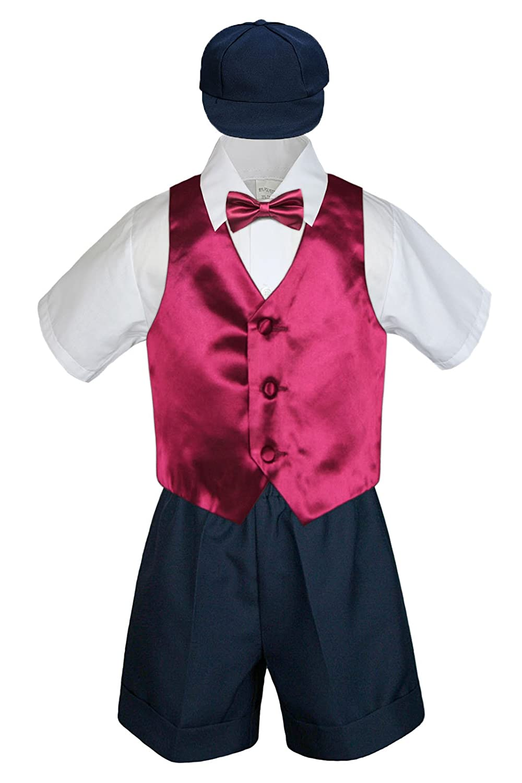 M: 6-12 months 5pc Baby Toddler Boy Navy Blue Vest Bow Tie Shorts Set White Suit S-4T