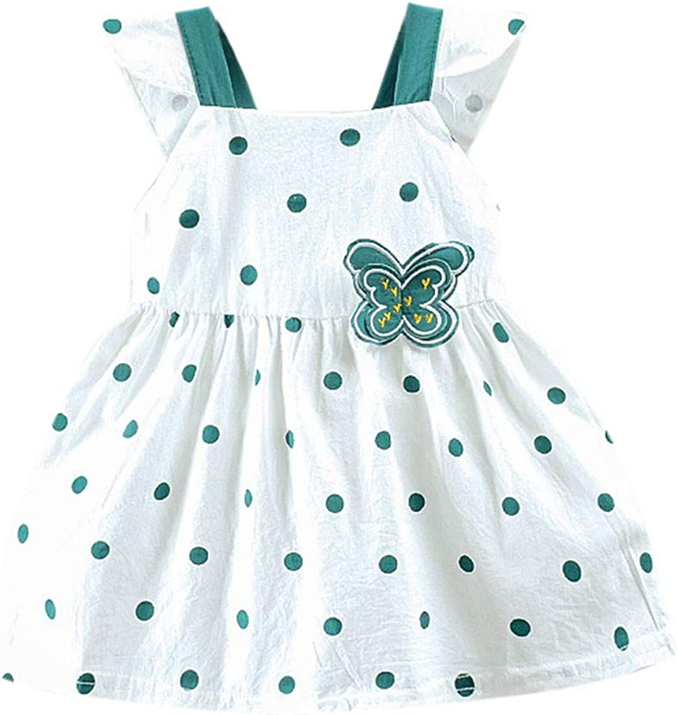 JiaMeng Girl Clothes Toddler Kid Comfortable Baby Dot Printed Butterfly Bow Party Princess Dress Clothing