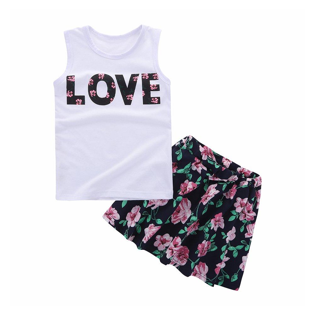 Motecity Girls' Skirt Set Flower Love Size 5 White-Navy by Motecity (Image #1)