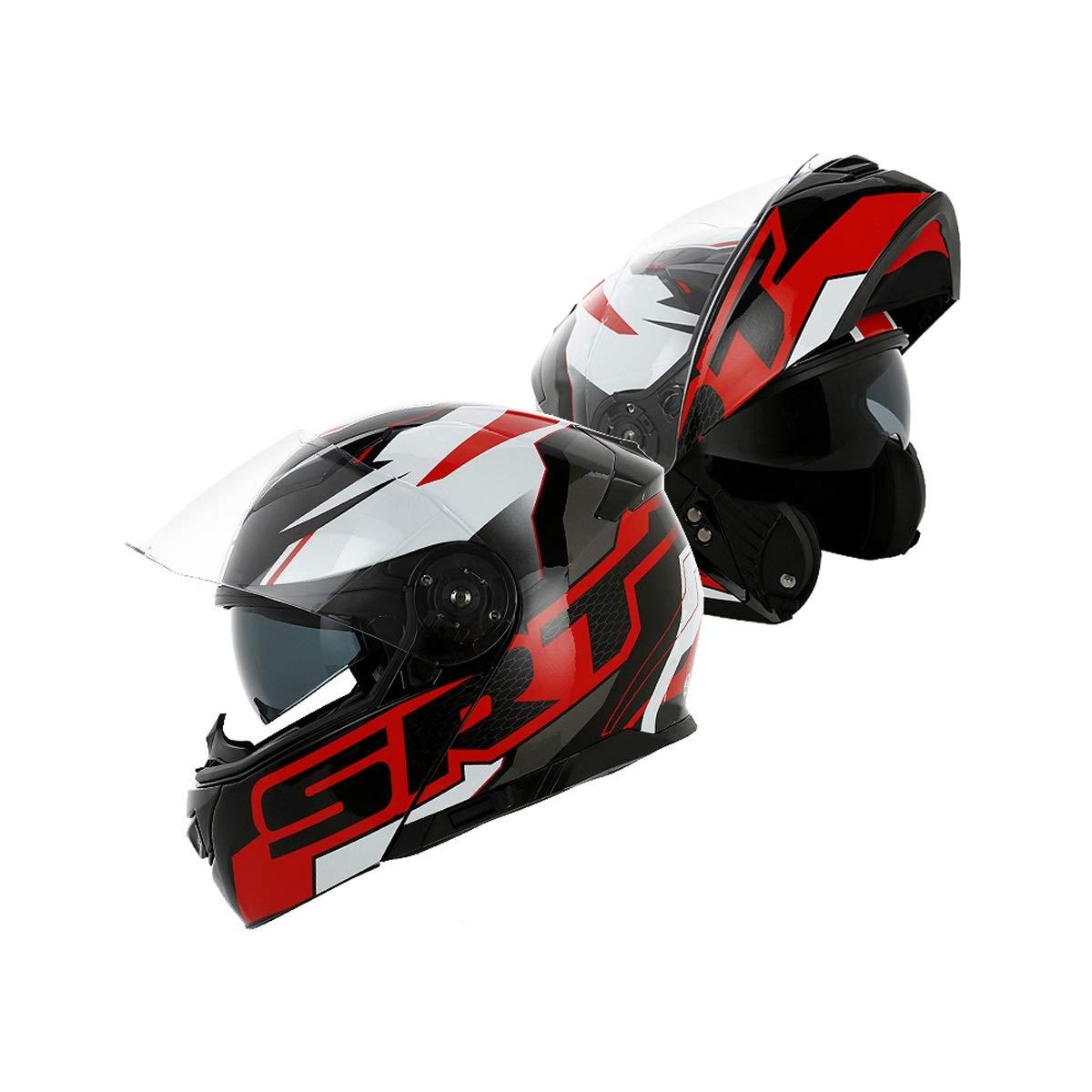 ダブルレンズオープンフェイスヘルメットオートバイヘルメット男性と女性の春防曇フルフェイスヘルメットフルカバー機関車のヘルメット、良い素材、実用的で耐久性 (Color : Multi-colored, Size : B-XL) B-XL Multi-colored B07SMFB9VF