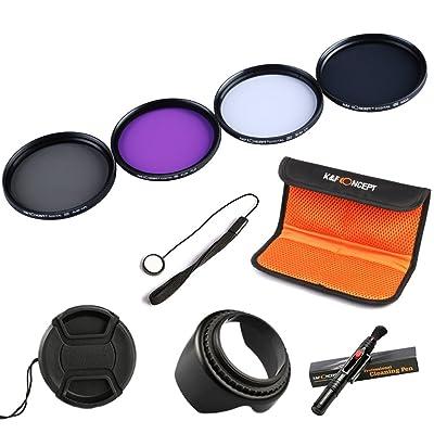 K&F Concept 55mm UV CPL FLD ND4 Filtro Kit de Accessorios de Lente UV Protector Circular Polarizador Filtro Densidad Neutra Filtro para Sony A37 A55 A57 A65 A77 A100 DSLR Cámaras + Pluma de Limpieza + Parasol P&eac