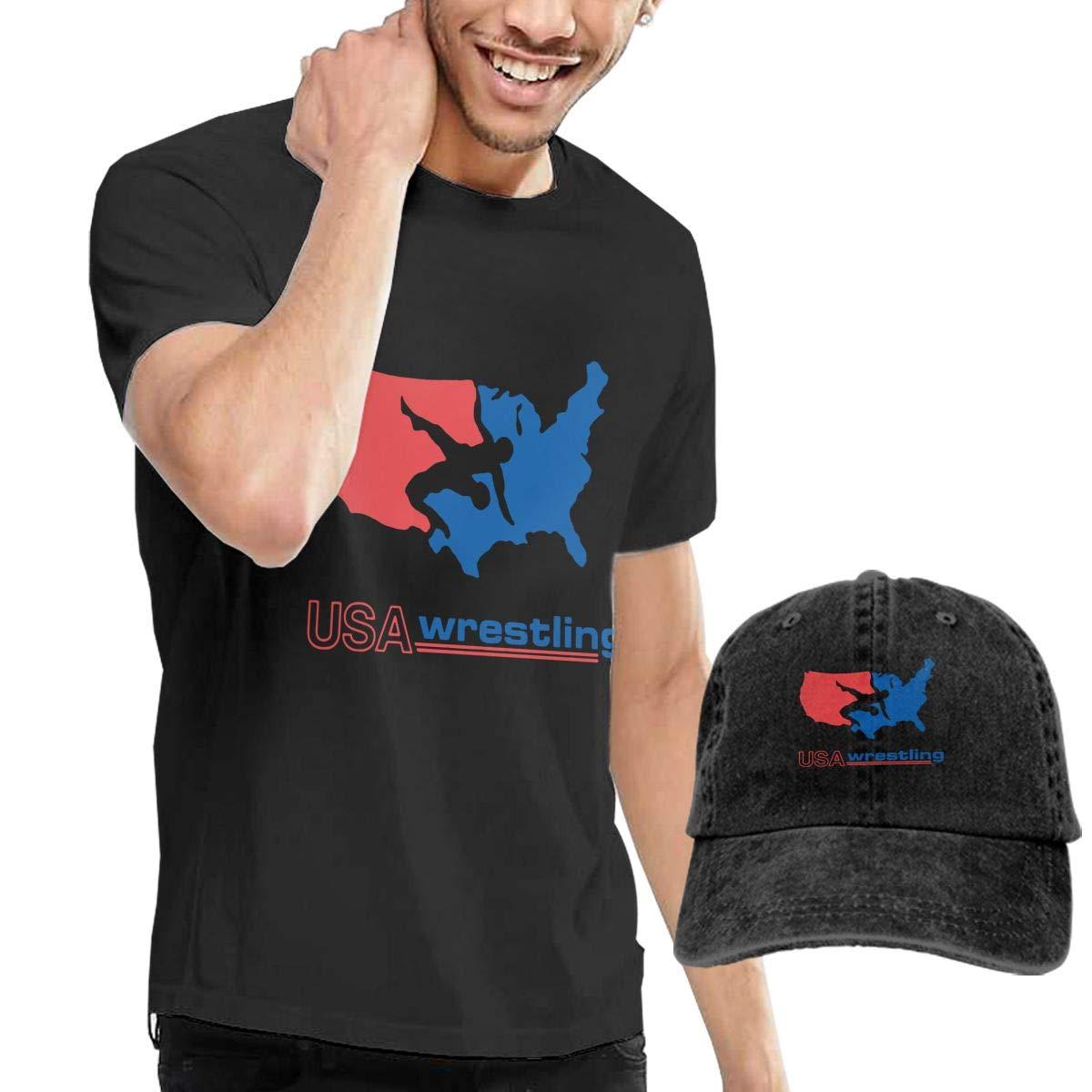 WWTBBJ-B USA Wrestling Adult Mens Casual T Shirts and Running Jean Headgear