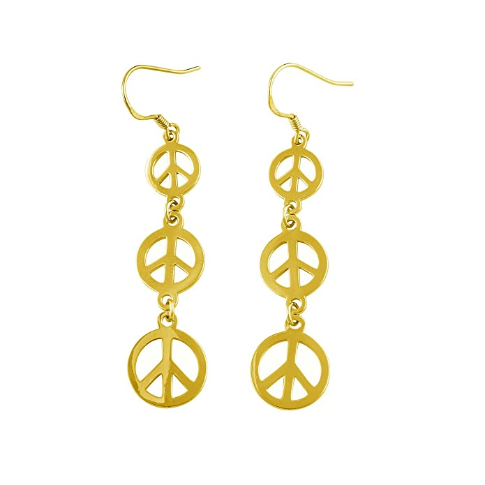 Vintage Style Jewelry, Retro Jewelry Sterling Silver Dangling Peace Sign Earrings $19.95 AT vintagedancer.com