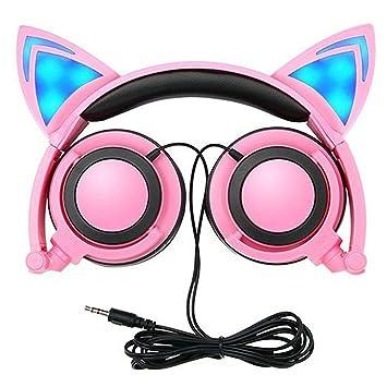Auriculares con Orejas de Gato con Cable, MEIWO Audífonos Plegables Para el Oído con Orejeras con luz de Flash LED para Niños: Amazon.es: Electrónica