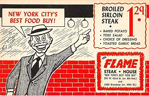 New York City The Flame Steak House Advertising Vintage Postcard JD933952