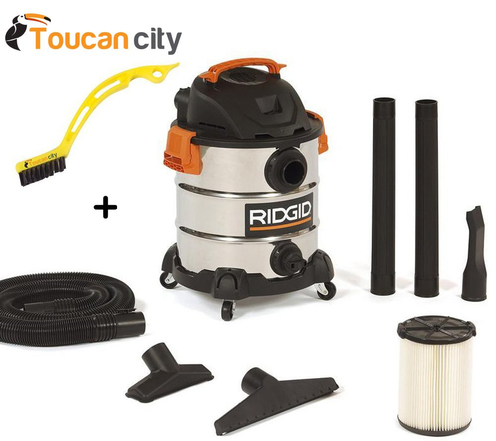 RIDGID 10 Gal. 6.0 Peak HP Stainless Wet Dry Vacuum WD1060 Vac + Toucan City Tile and Grout Brush by Ridgid + Toucan City