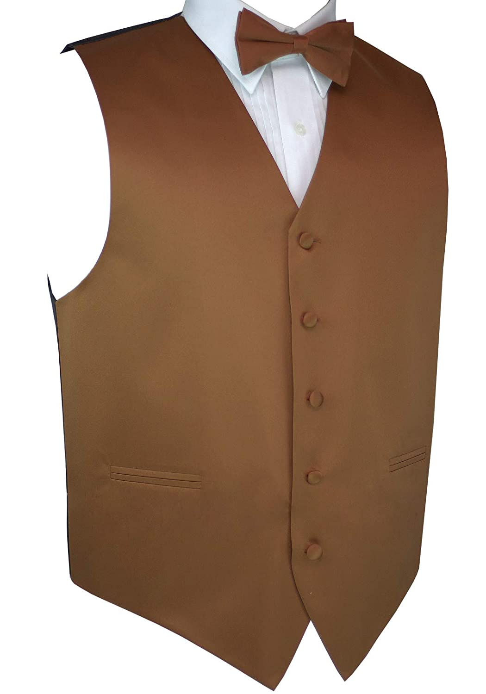 Mens Tuxedo Vest Italian Design Bow-Tie /& Hankie Set in Whiskey