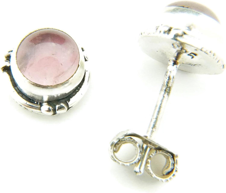 Pendientes de plata 925 con cuarzo rosa 7 mm7 mm (No: MOS 27)