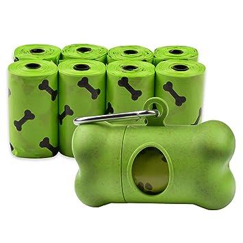 AiQInu Bolsas de Basura biodegradables para Perros Bolsa Caca excrementos para Mascotas 8 Rollos,Total