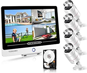 PoE Home Security Camera System with Monitor [Floodlight & 2 Way Audio],YESKAMO 12inch 1080P IPS Screen, 4pcs 3MP Spotlight Outdoor Cameras 8CH Home Security System with 2TB Hard Drive,AI Human Detect
