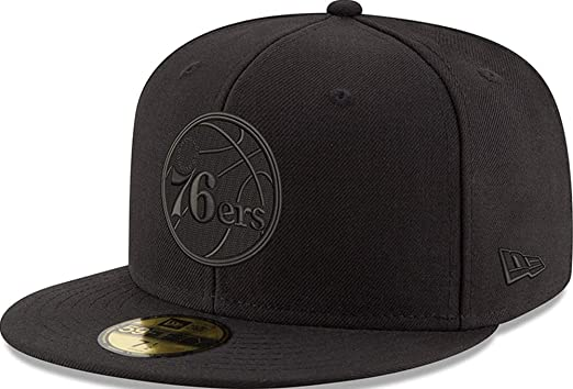 bf00c00a92ef8 Amazon.com  New Era Philadelphia 76ers Black On Black Cap 59fifty 5950  Fitted Men Special Limited Edition  Clothing