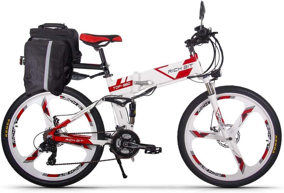 RICH BIT Bicicleta Eléctrica Plegable de 26 Pulgadas E-Bike, Equipar con Batería 36V 12AH 250W y Motor sin Escobillas, Funciona en el Modelo 3 (Pedal - Asistencia de Pedal - Acelerador)