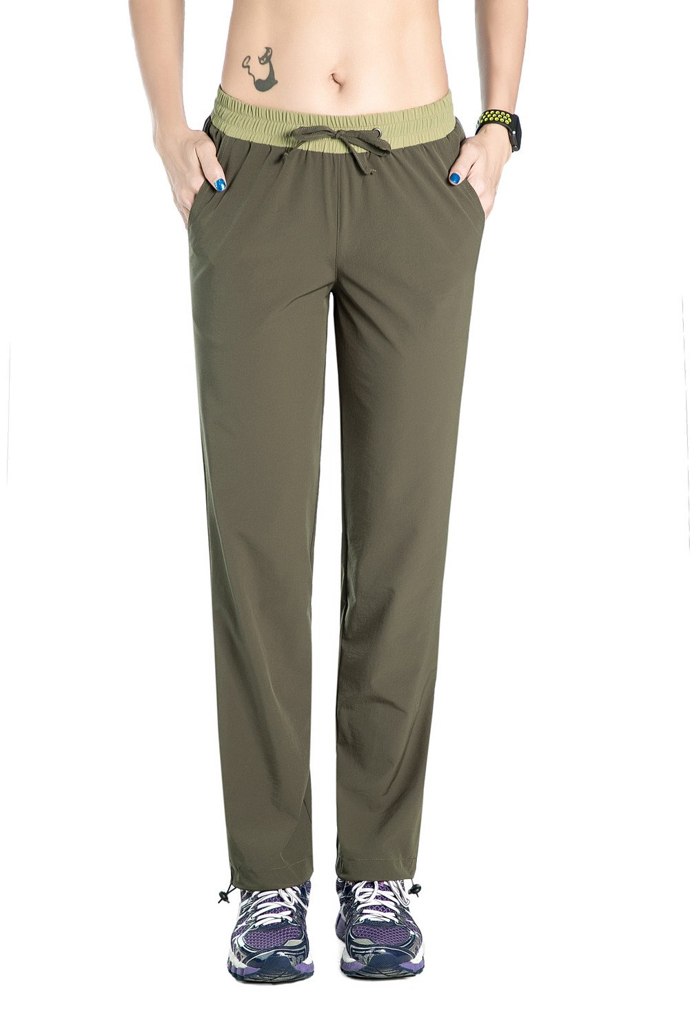 Unitop Women's Quick Dry Cargo Crop Travel Pants With Drawstring Green M/32 Inseam