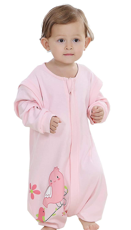 Baby ganzjahres Schlafsack mit Beinen,abnembar Langarm,Unisex Kleine Kinder Sommerschlafsack,Baby Strampler Schlafanzug Baumwolle (Blau, Etikett70/Koerpergroesse 75-85cm)
