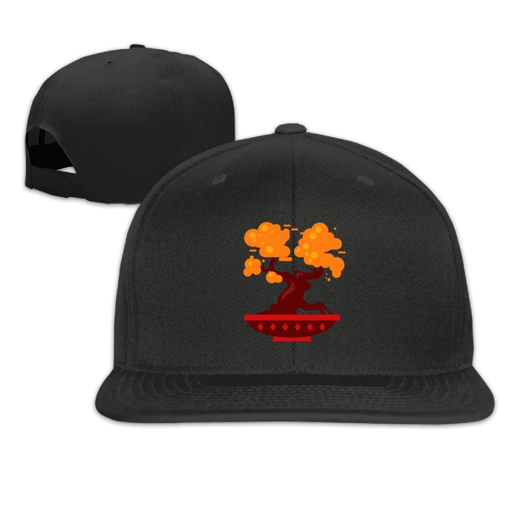 Jusxout Orange Bonsai Tree Washed Unisex Adjustable Flat Bill Visor Baseball Hat