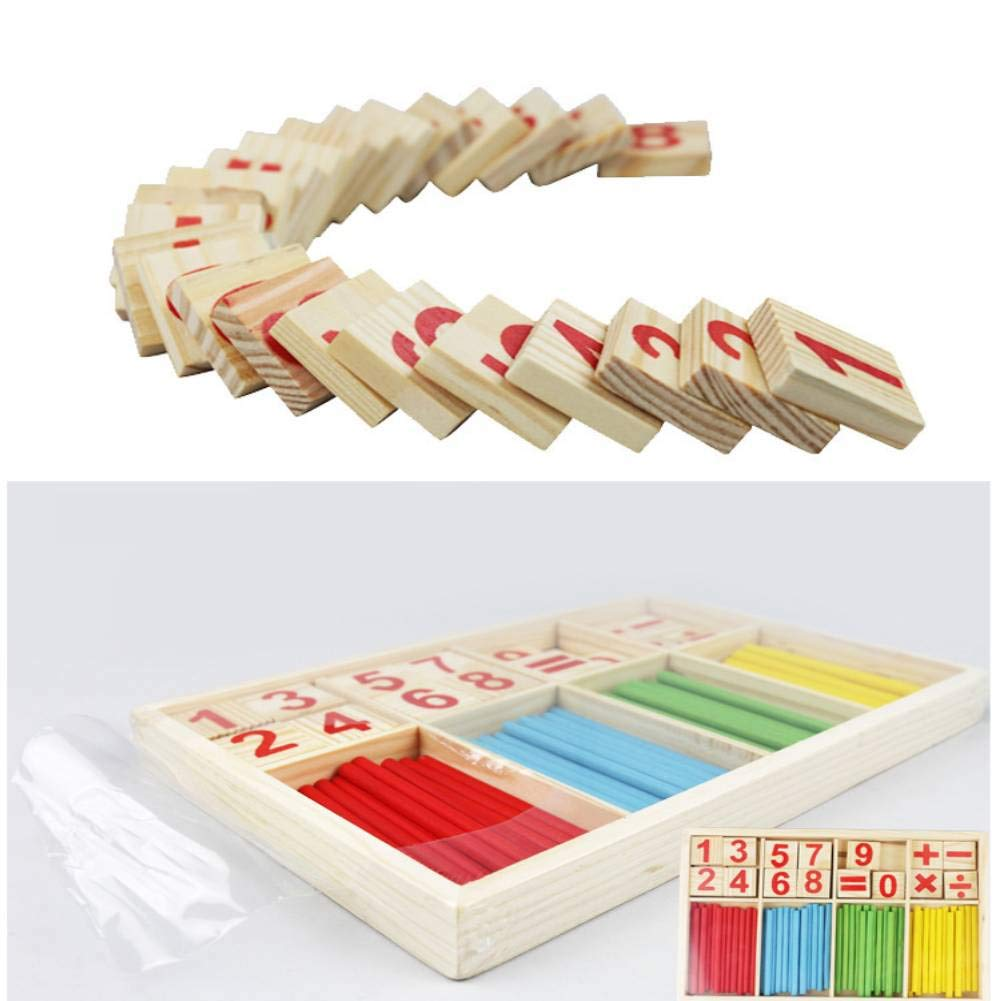 Colorful Wooden Baby Preschool Math Educational Toys Building Blocks Counting Sticks Multicolor-School Wooden Mathematical Intelligence Stick