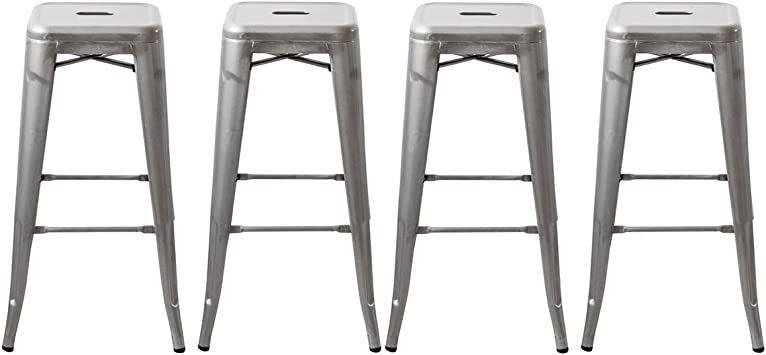 Amazon Com Buschman 30 Inch Galvanized Metal Bar Stools Set Of 4 Indoor Outdoor Stackable Furniture Decor
