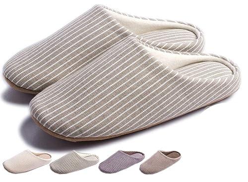Zapatillas de Estar por casa Mujer Fieltro Interior Antideslizante Verano Memoria Espuma Slippers Pantuflas Unisex Algodón Forro Natural: Amazon.es: Zapatos ...