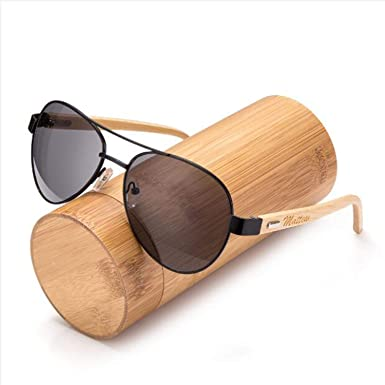cedc5114dce Amazon.com  Awerise Personalized Aviator Wood Wooden Sunglasses UV400  Groomsmen Gifts (Sunglasses with bamboo box