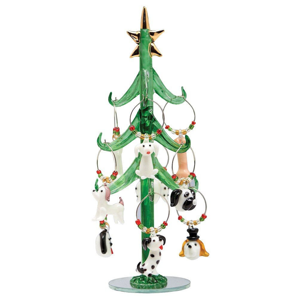 Glass Christmas Tree with Dog Wine Charm Ornaments-9