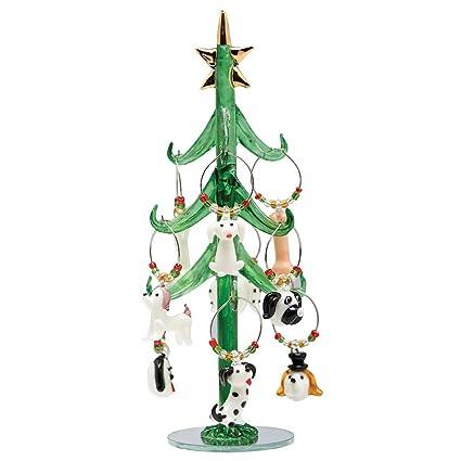 "Glass Christmas Tree with Dog Wine Charm Ornaments-9"" - Amazon.com Glass Christmas Tree With Dog Wine Charm Ornaments-9"