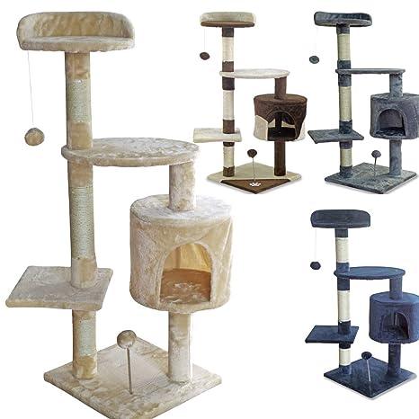 EUREKA24 rascador para Gatos – árbol rascador Alto 112 cm Juego Juegos para Gatos de caseta