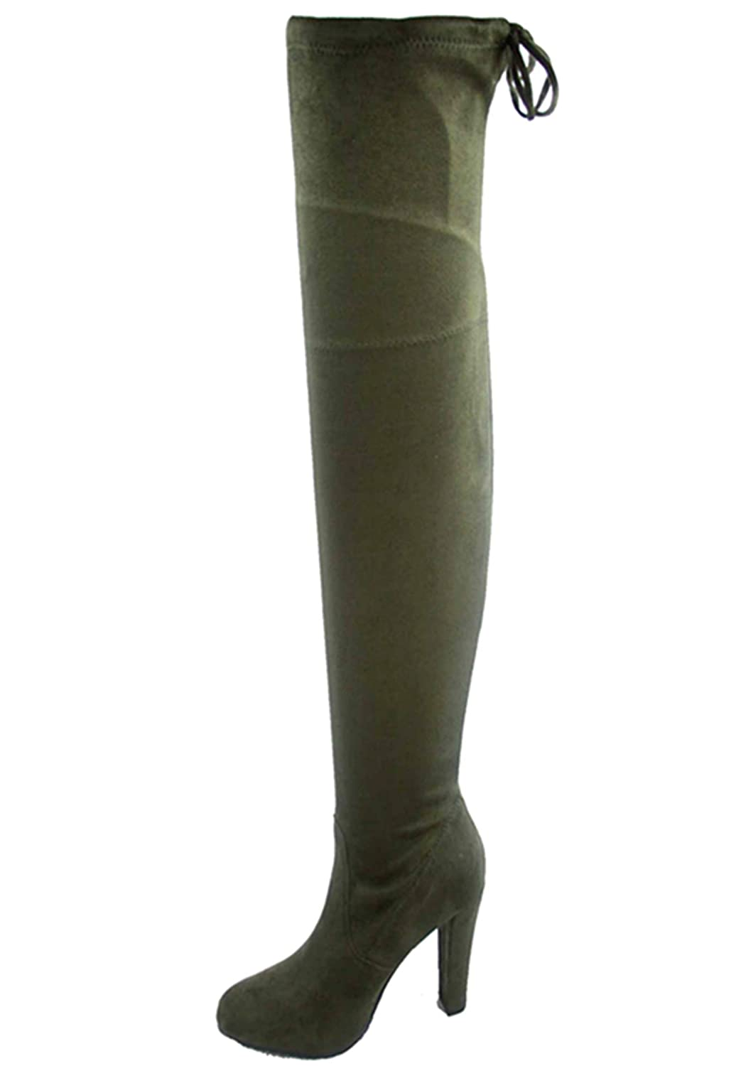 Olive-h1 S&F SF Women's Over The Knee Boots Chunky Heels String Riding Women's shoes