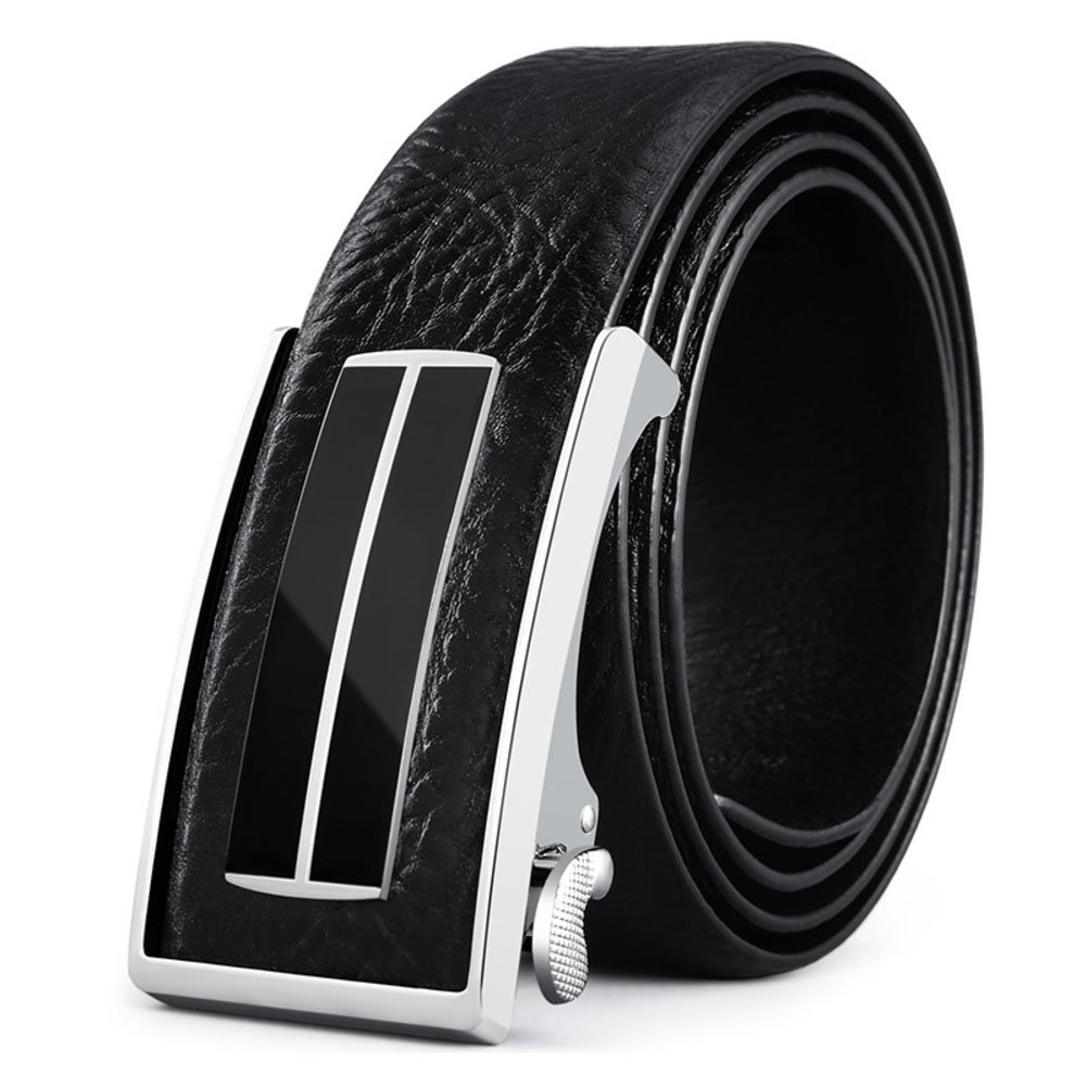 Men's Automatic buckle Belt,Leather Business Casual Dress Texture Belt-black-A 105cm(41inch)